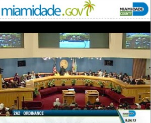 A screen shot from an on-demand video of a meeting last month by the Miami-Dade County Commission. Broward commissioners don't make on-demand viewing of their meetings available to the public.